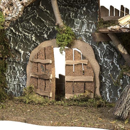 Cabaña con puerta y techo para pesebre 32x50x24cm 5