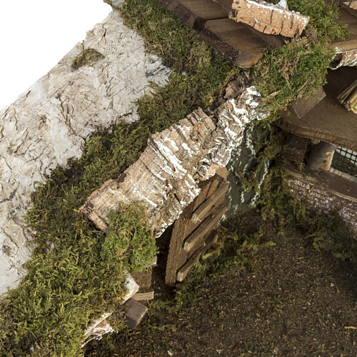 Cabaña con puerta y techo para pesebre 32x50x24cm 8