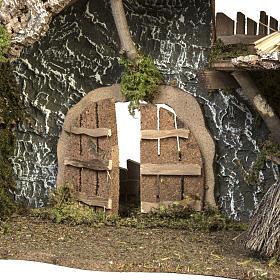Étable crèche Noel porte et toit 32x50x24 cm s5