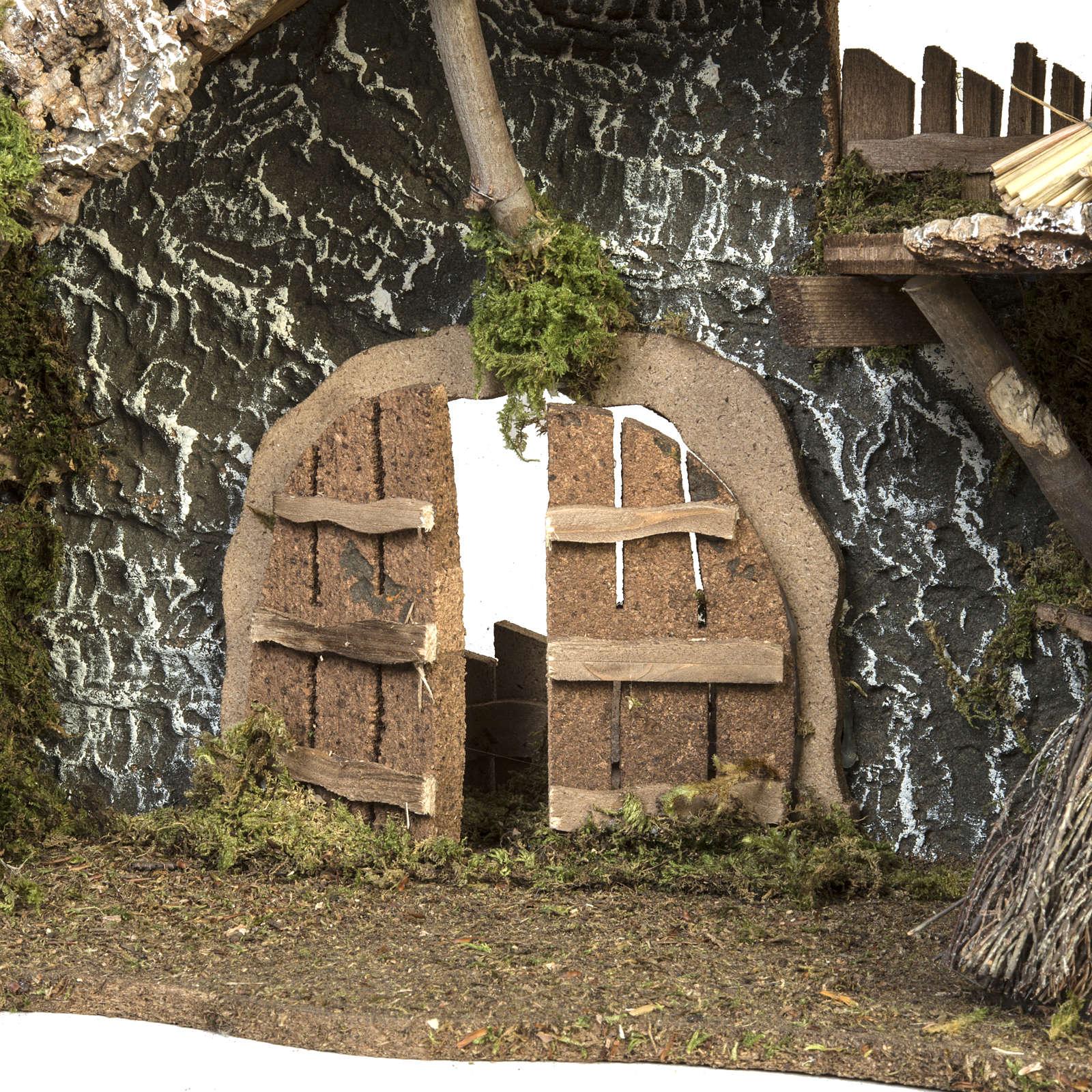 Capanna presepe porta e tetto 32x50x24 cm 4