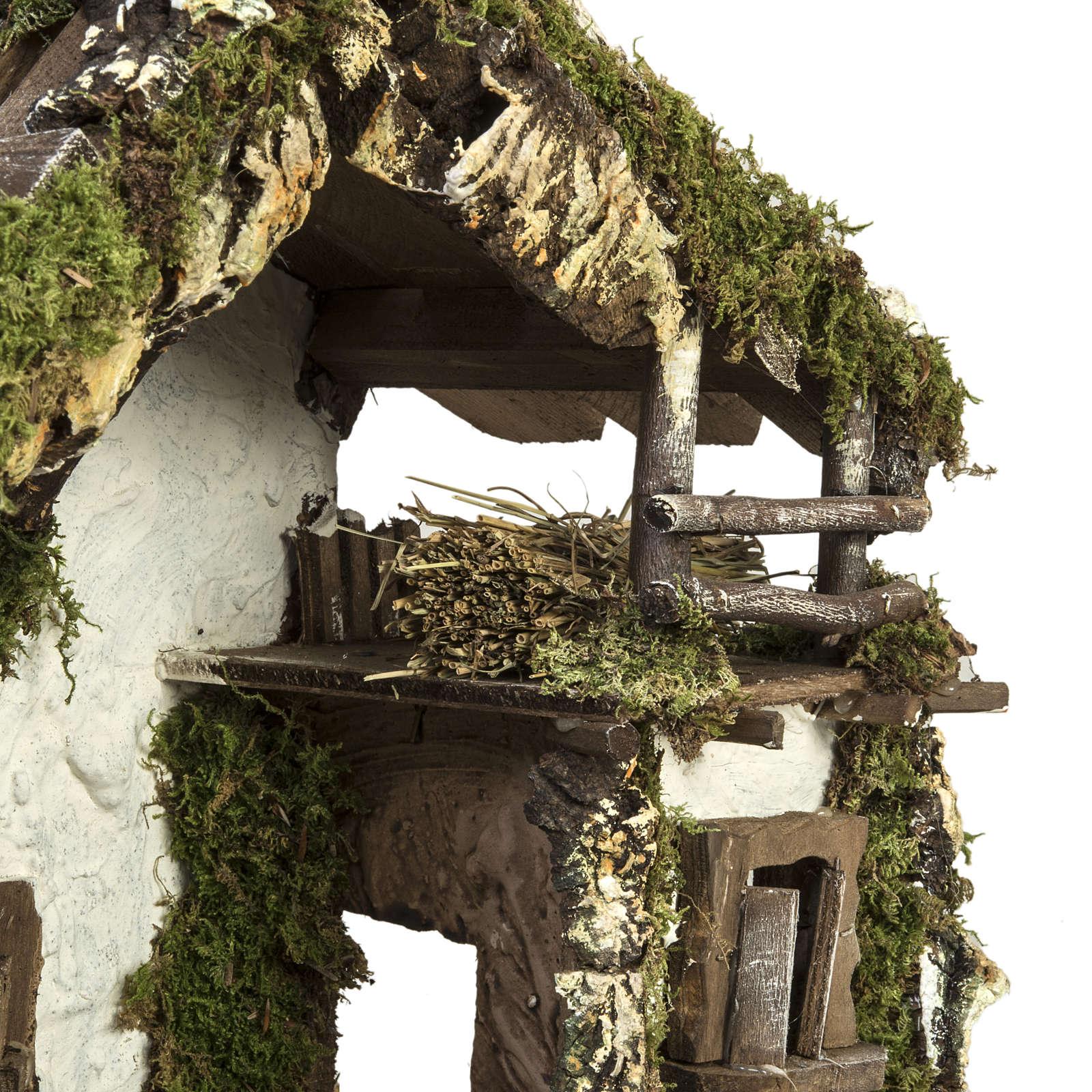 Capanna presepe con porta e finestre 30x42x18 cm 4