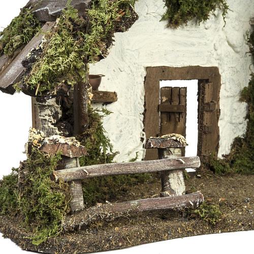 Capanna presepe con porta e finestre 30x42x18 cm 5