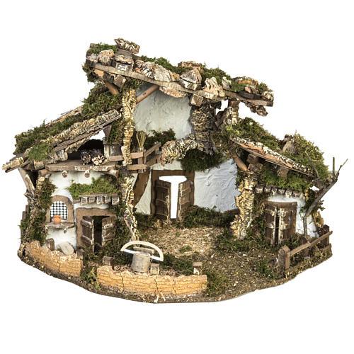 Cabaña tipo refugio con accesorios para pesebre 40x58x38c 1