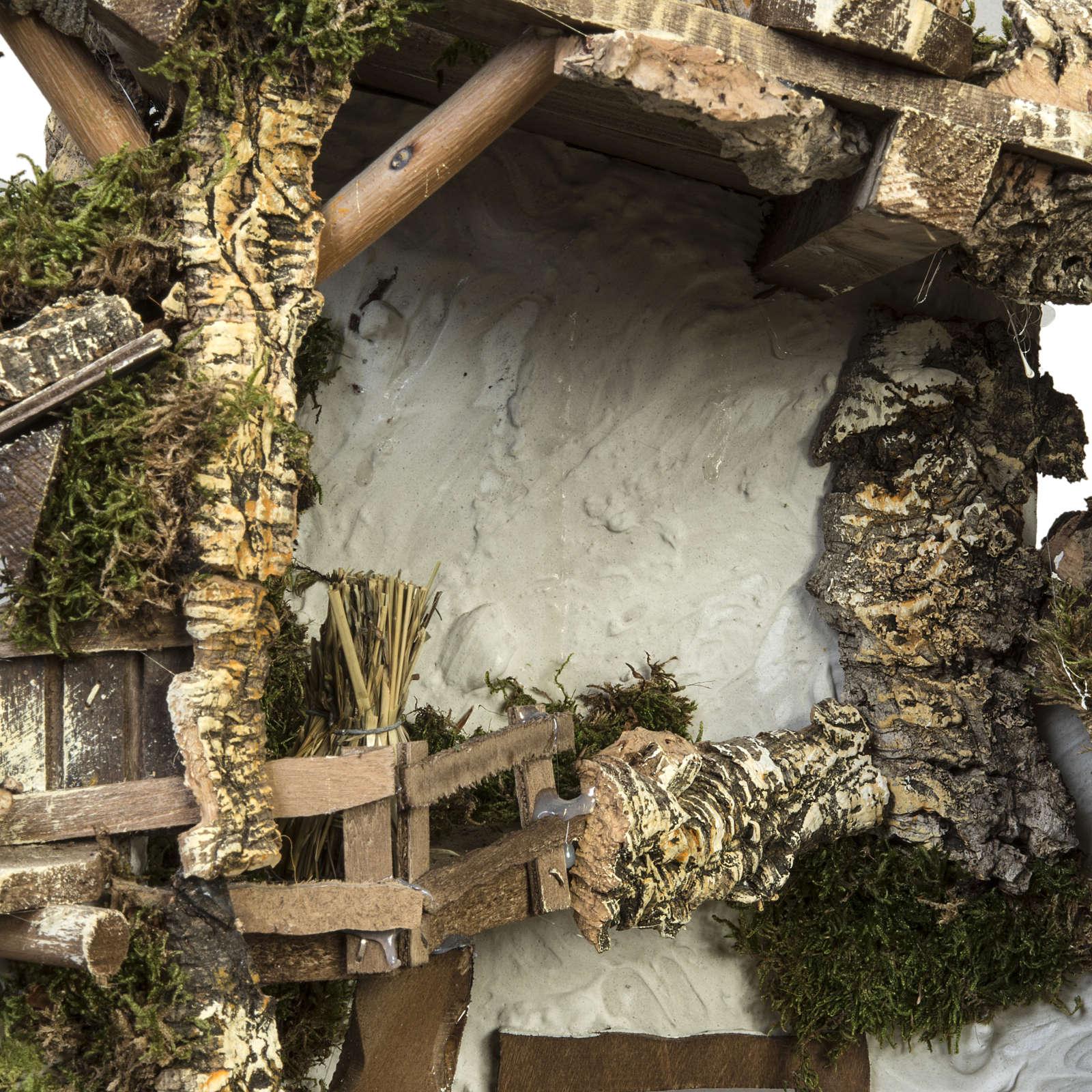 Capanna presepe tipo baita con accessori 40x58x38 cm 4