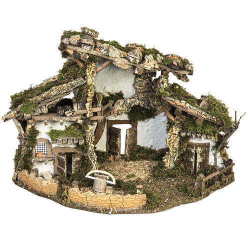 Nativity setting, refuge stable with accessories 40x58x38cm 1