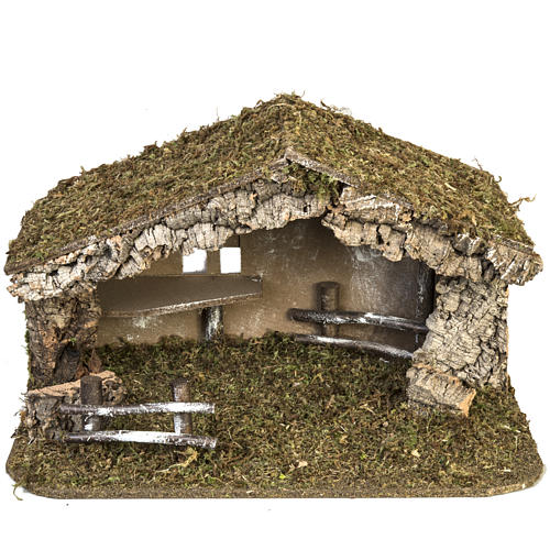 Nativity setting, simple stable in cork and moss 38x58x34cm 1