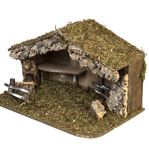 Nativity setting, simple stable in cork and moss 38x58x34cm 4