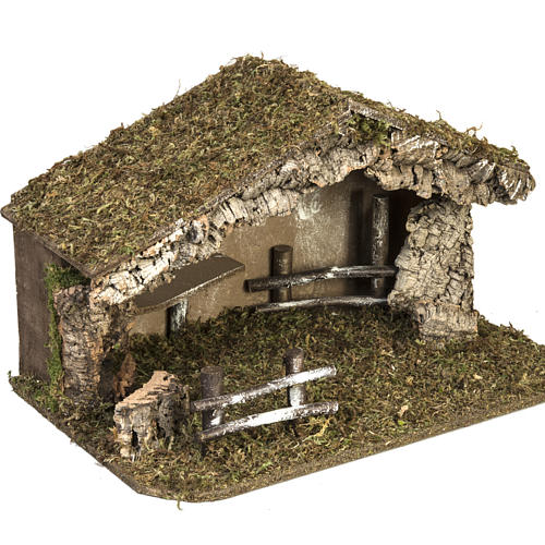 Nativity setting, simple stable in cork and moss 38x58x34cm 5