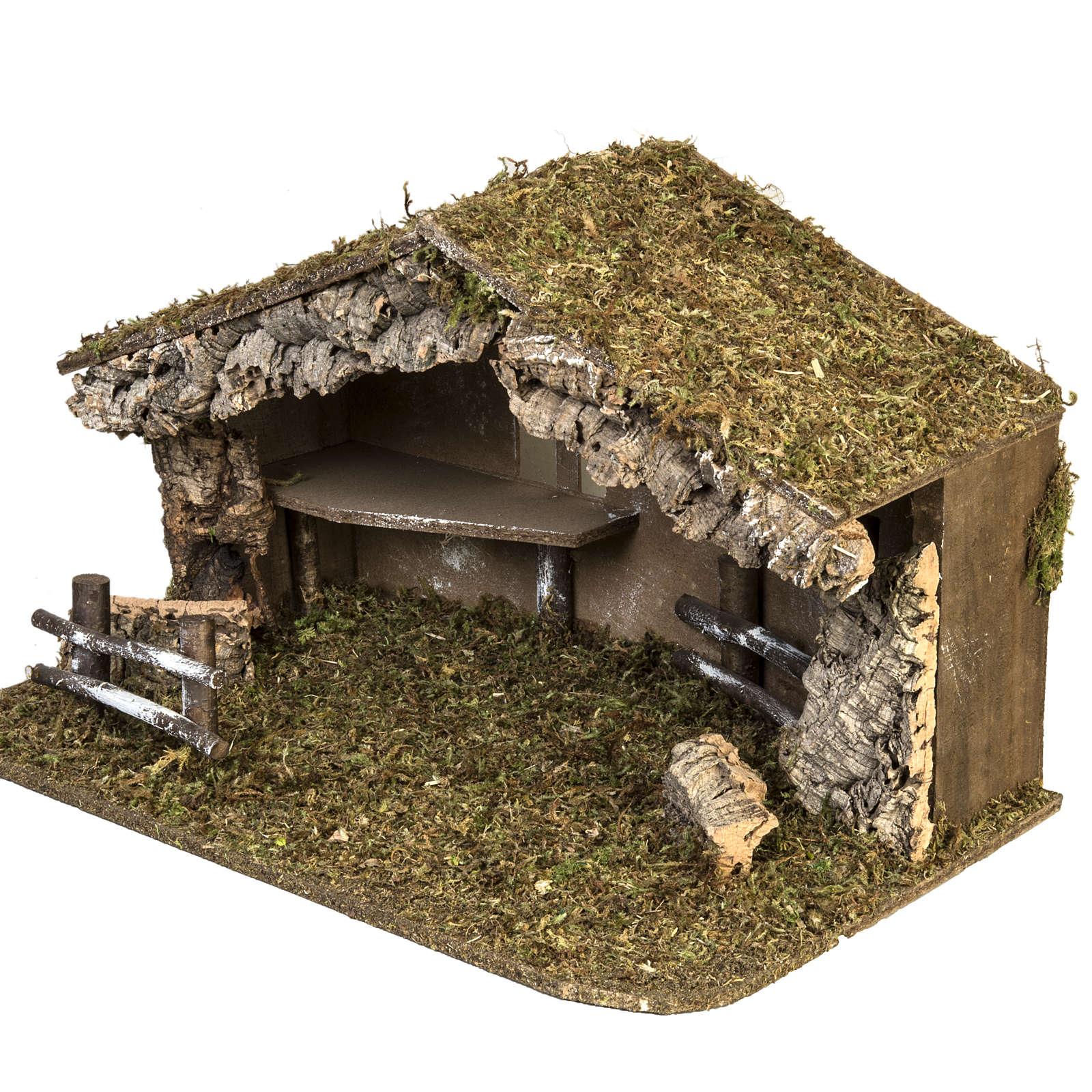 Cabaña simple para el pesebre de 38x58x34cm 4