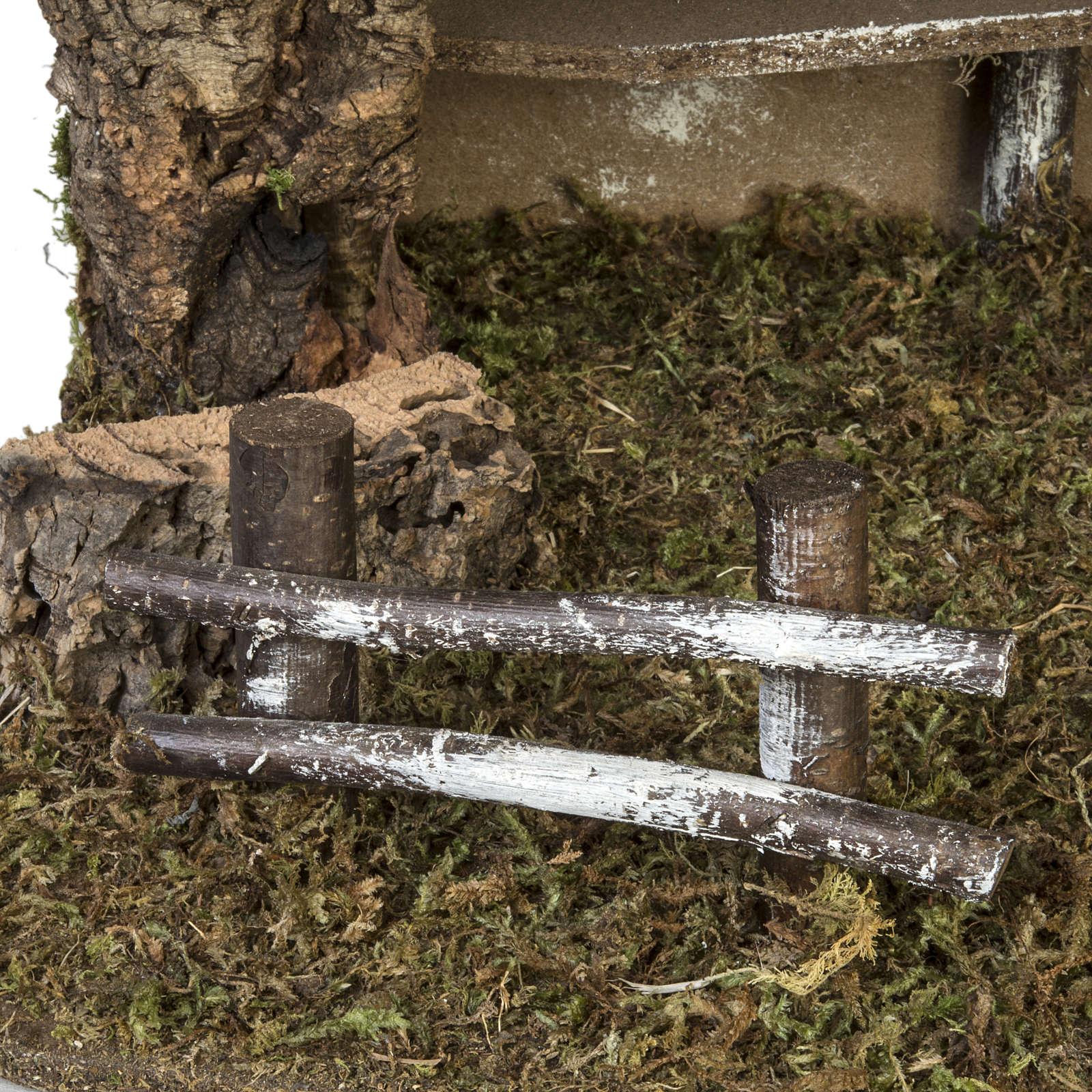 Capanna presepe semplice sughero e muschio 38x58x34 cm 4