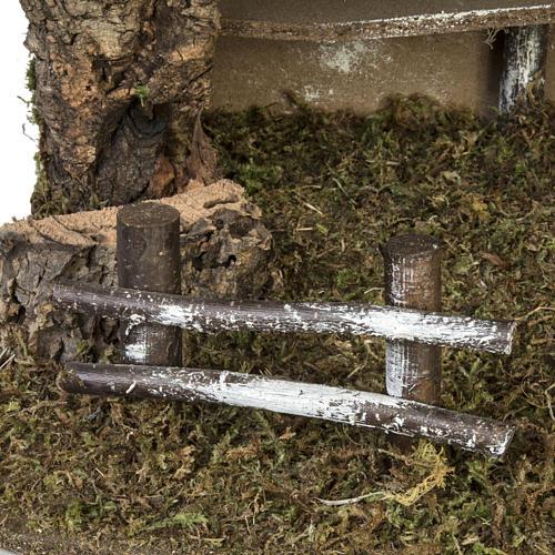 Capanna presepe semplice sughero e muschio 38x58x34 cm 2