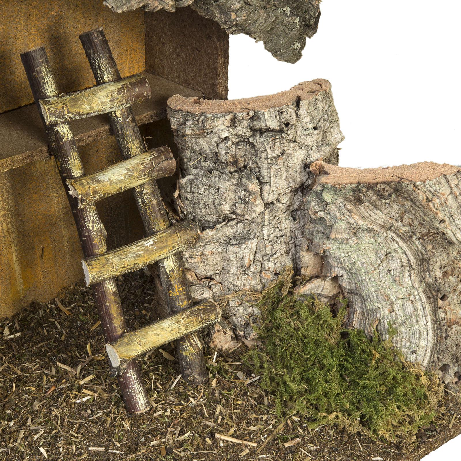 Cabana presépio escada e celeiro 30x50x24 cm 4