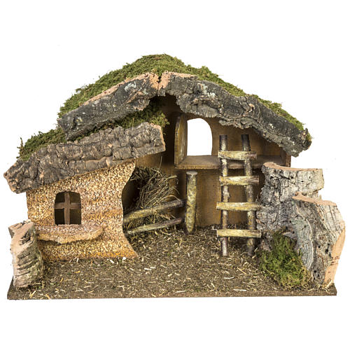 Nativity setting, stable with ladder and barn 30x50x24cm 1