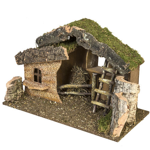 Nativity setting, stable with ladder and barn 30x50x24cm 2