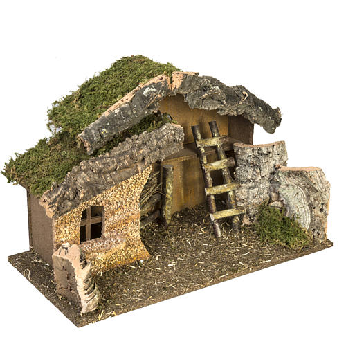 Nativity setting, stable with ladder and barn 30x50x24cm 3