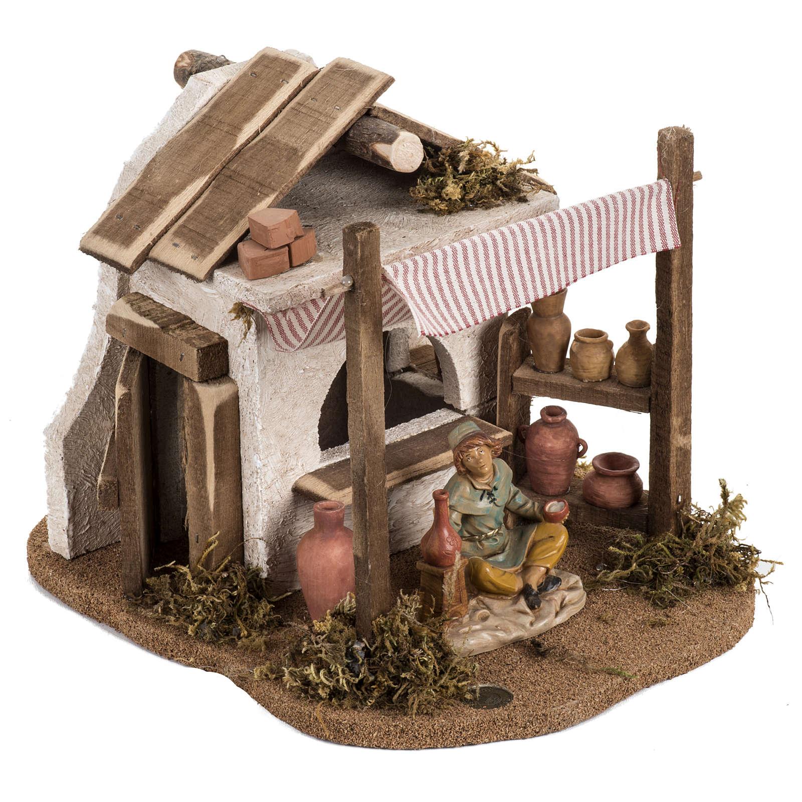 Atelier du céramiste crèche  Fontanini village 12 cm 4