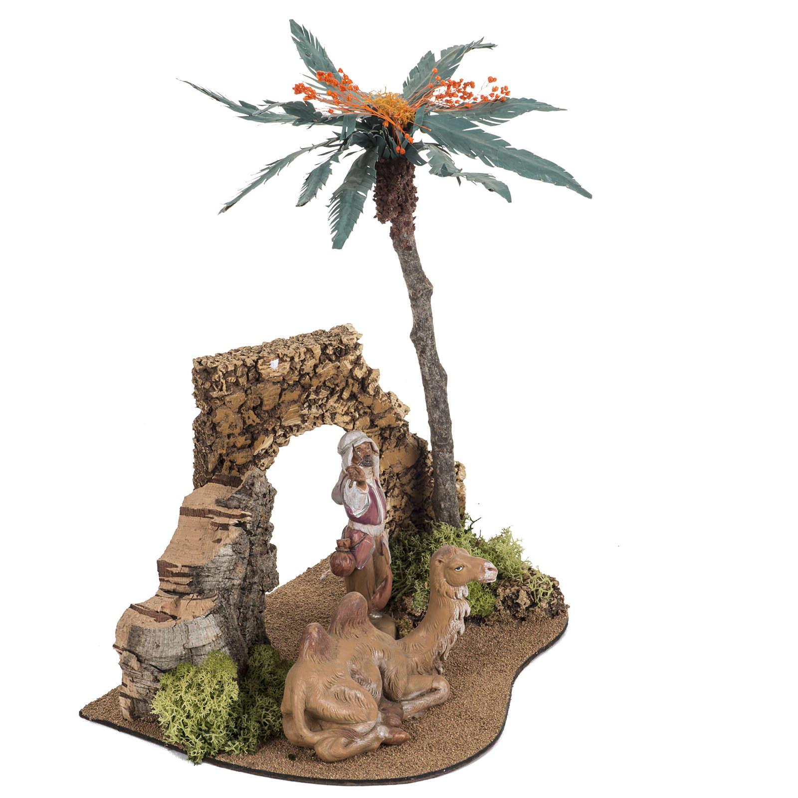 Milieu palmier crèche Noel Fontanini: village 12cm 4