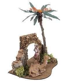 Milieu palmier crèche Noel Fontanini: village 12cm s3