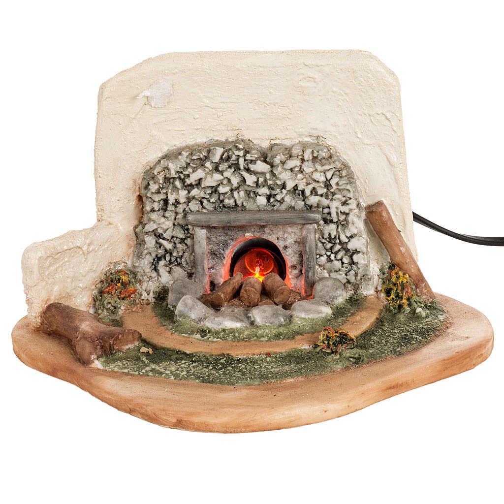 Fuego eléctrico con pastor y ovejas para pesebre 12cm 4
