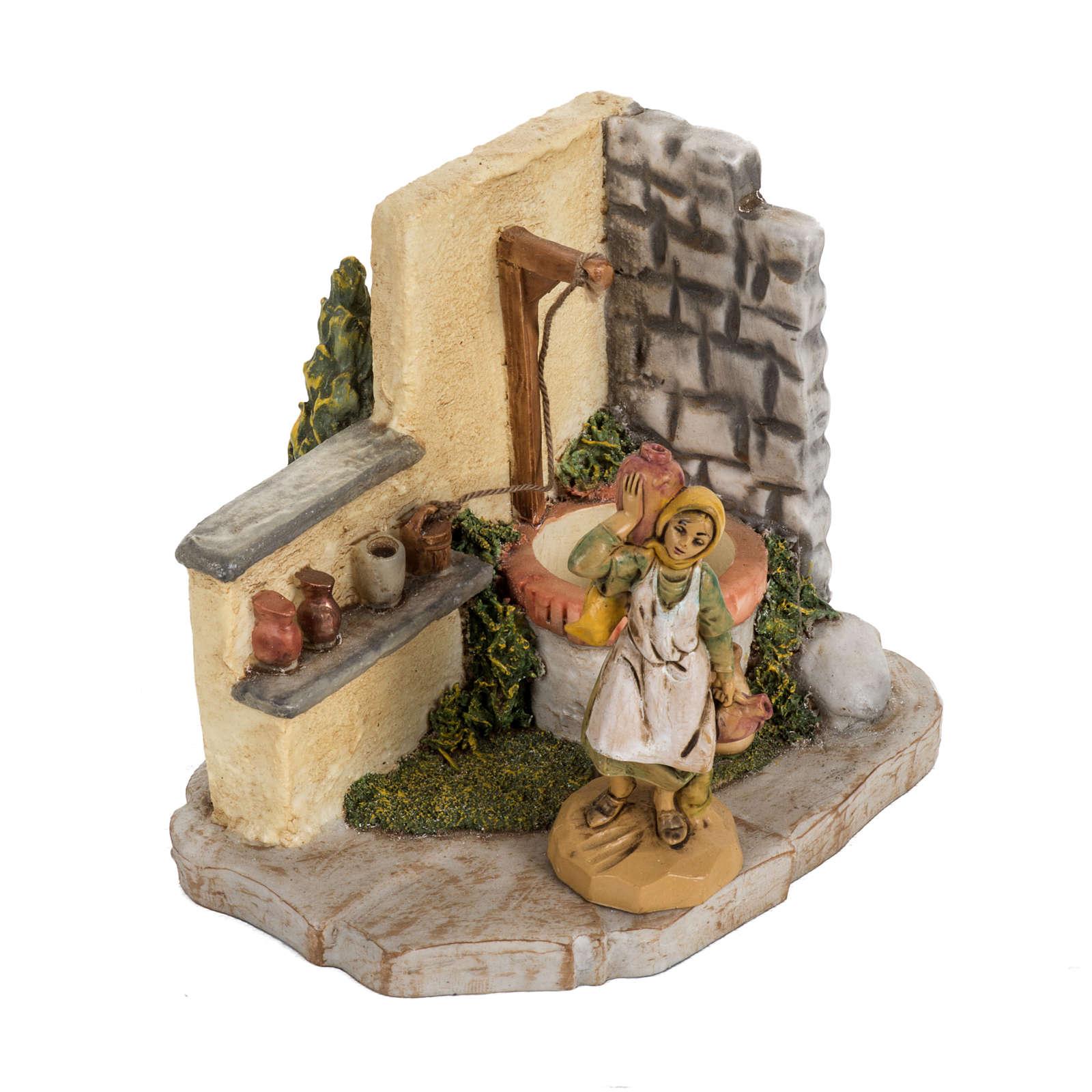 Pozzo con pastorella per villaggio Fontanini cm 6.5 4