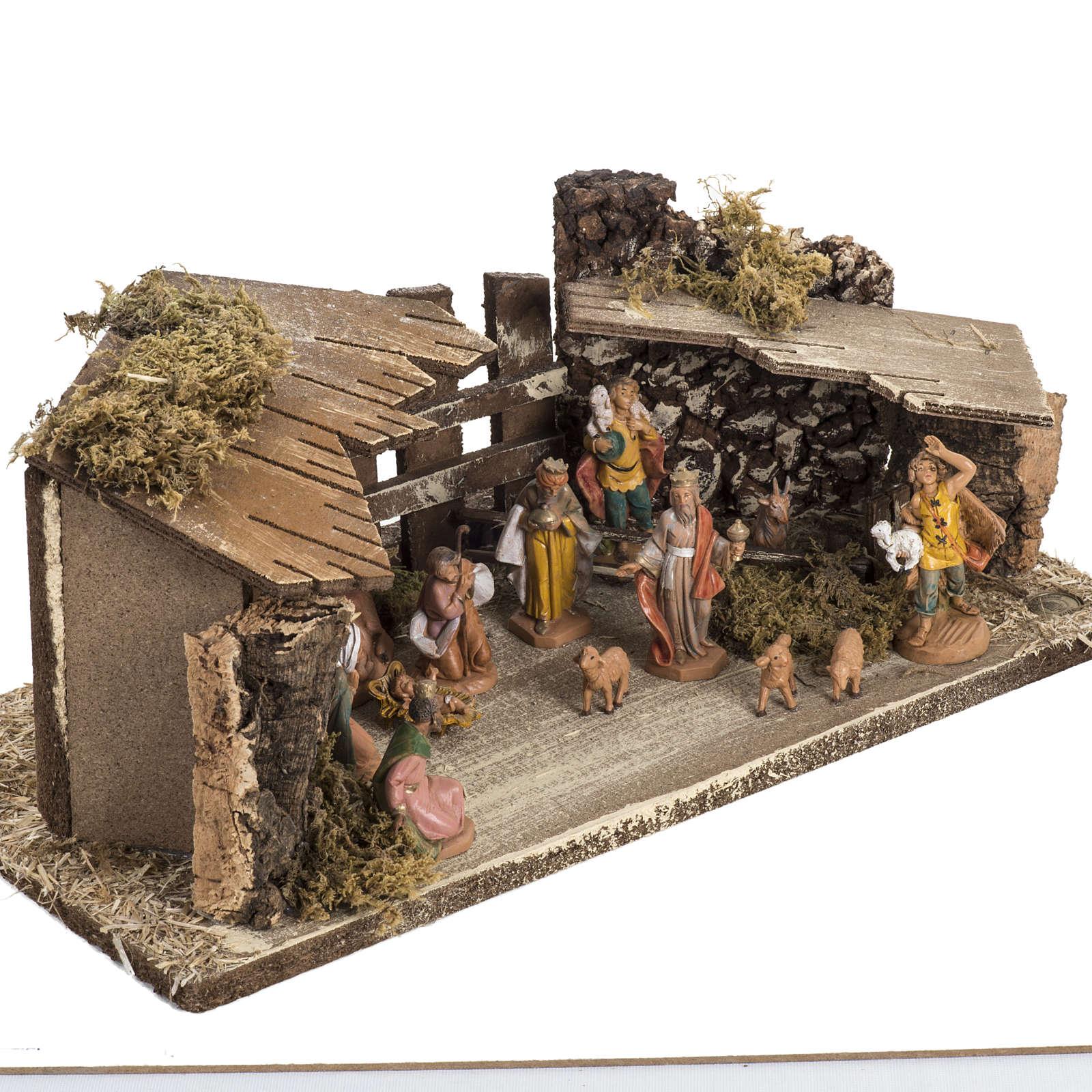Etable sur base en bois crèche Fontanini 6,5 cm 4