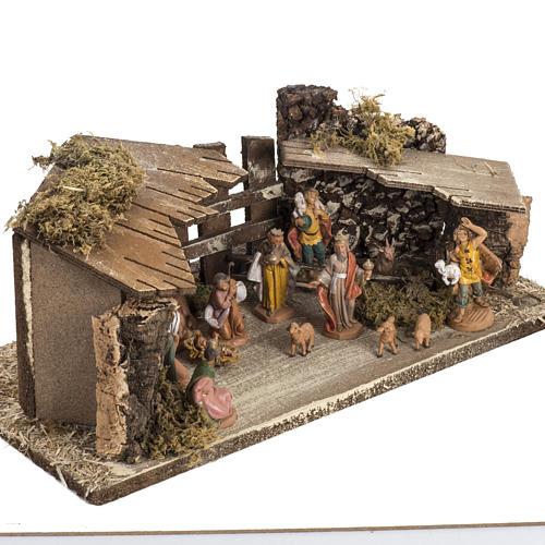 Etable sur base en bois crèche Fontanini 6,5 cm 2