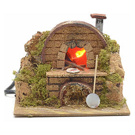 Nativity setting, oven featuring flame effect bulb 15x10cm s4