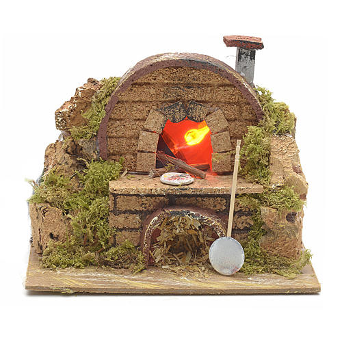 Nativity setting, oven featuring flame effect bulb 15x10cm 1