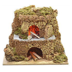 Nativity setting, oven with flame effect light 15x10cm s1