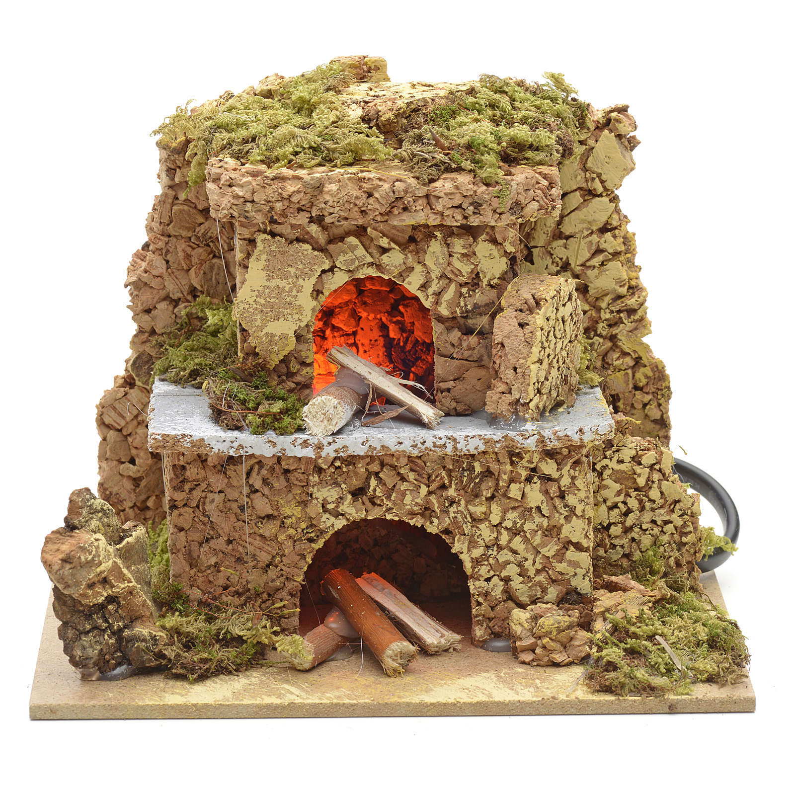 Nativity setting, oven with flame effect light 15x10cm 4