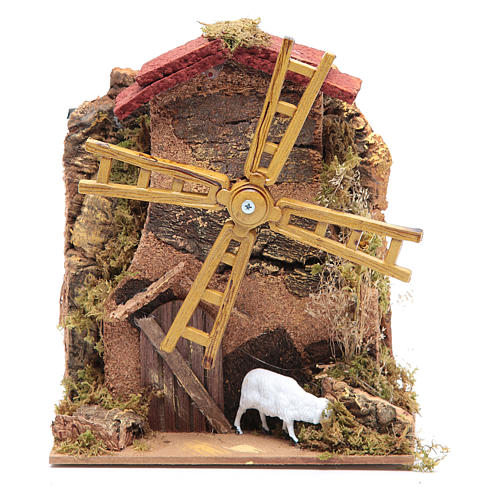 Wind mill for nativities with gear motor 15x10cm 1