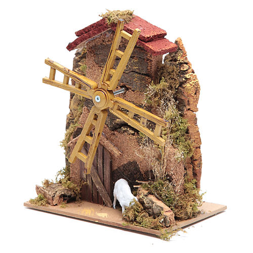 Wind mill for nativities with gear motor 15x10cm 2