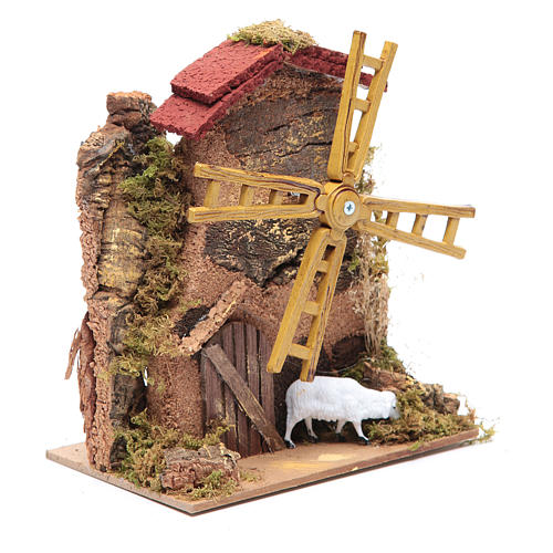 Wind mill for nativities with gear motor 15x10cm 3