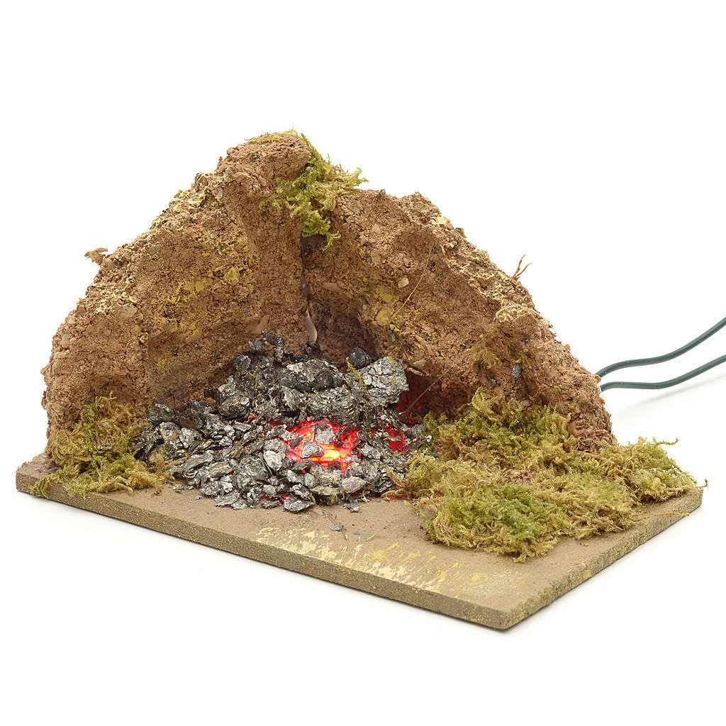 Nativity accessory, corner brazier with 1 flickering LED light 1 4