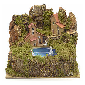 Settings, houses, workshops, wells: Nativity setting, lake with 2 swans, movement 24x21cm