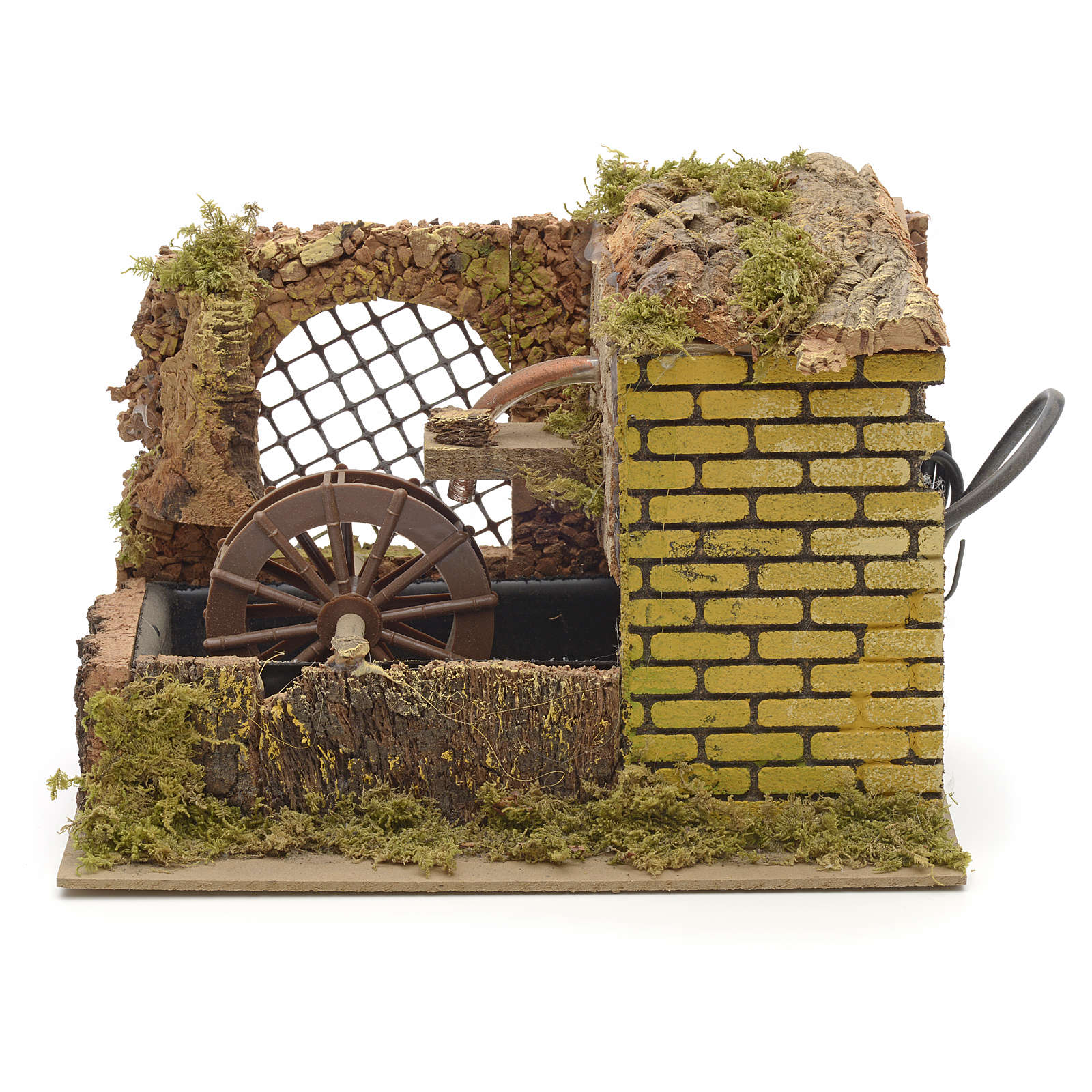 Water mill with pump for nativities 25x14x20cm 4
