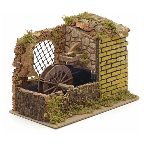 Water mill with pump for nativities 25x14x20cm 2
