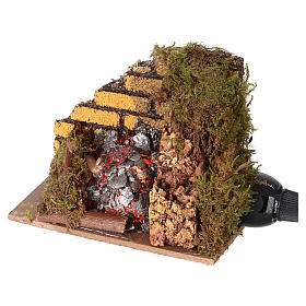 Nativity accessory, fire with flame effect light 10x6cm s2