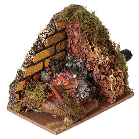 Nativity accessory, fire with flame effect light 10x6cm s3