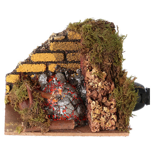 Nativity accessory, fire with flame effect light 10x6cm 1
