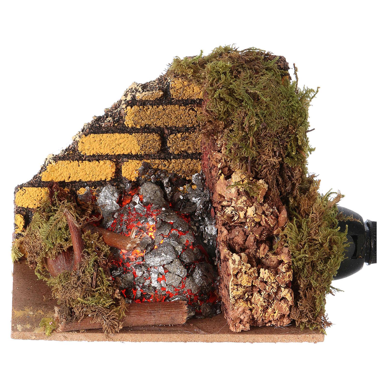 Fuego brasas con bombillo efecto llama cm 10x6 4