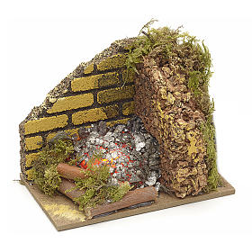Nativity accessory, fire with flame effect light 10x6cm s1