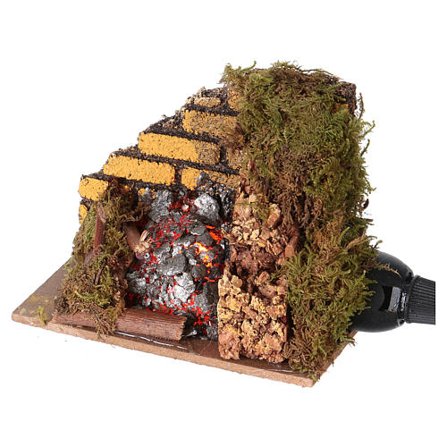 Nativity accessory, fire with flame effect light 10x6cm 2
