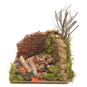 Fireplaces and ovens: Nativity accessory, corner fire with flame effect light 10x6cm