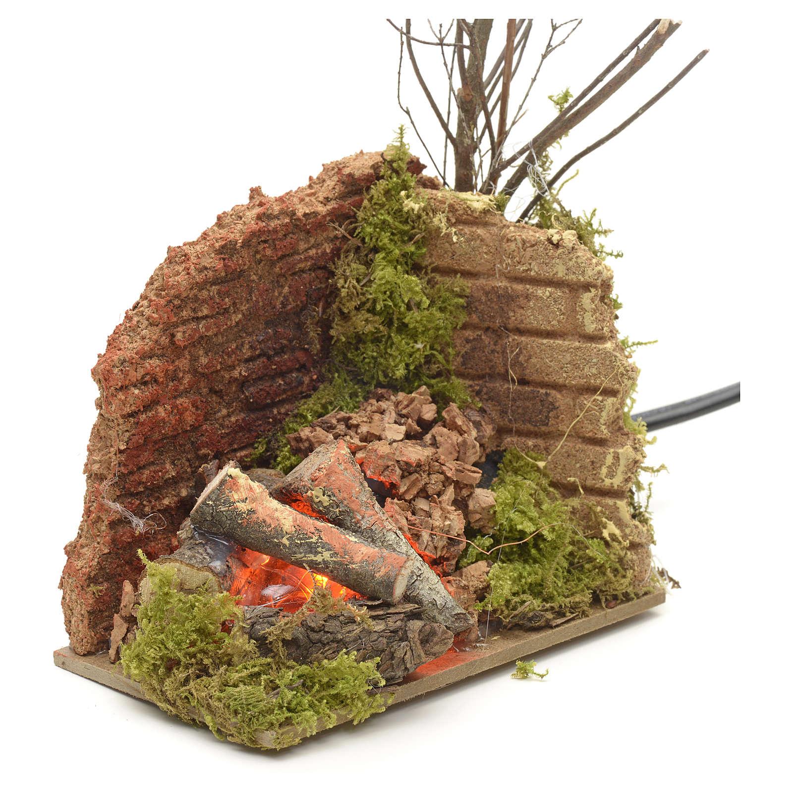 Feu de bois en miniature ampoule effet flamme 10x6cm 4