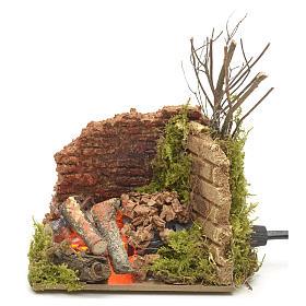 Feu de bois en miniature ampoule effet flamme 10x6cm s4