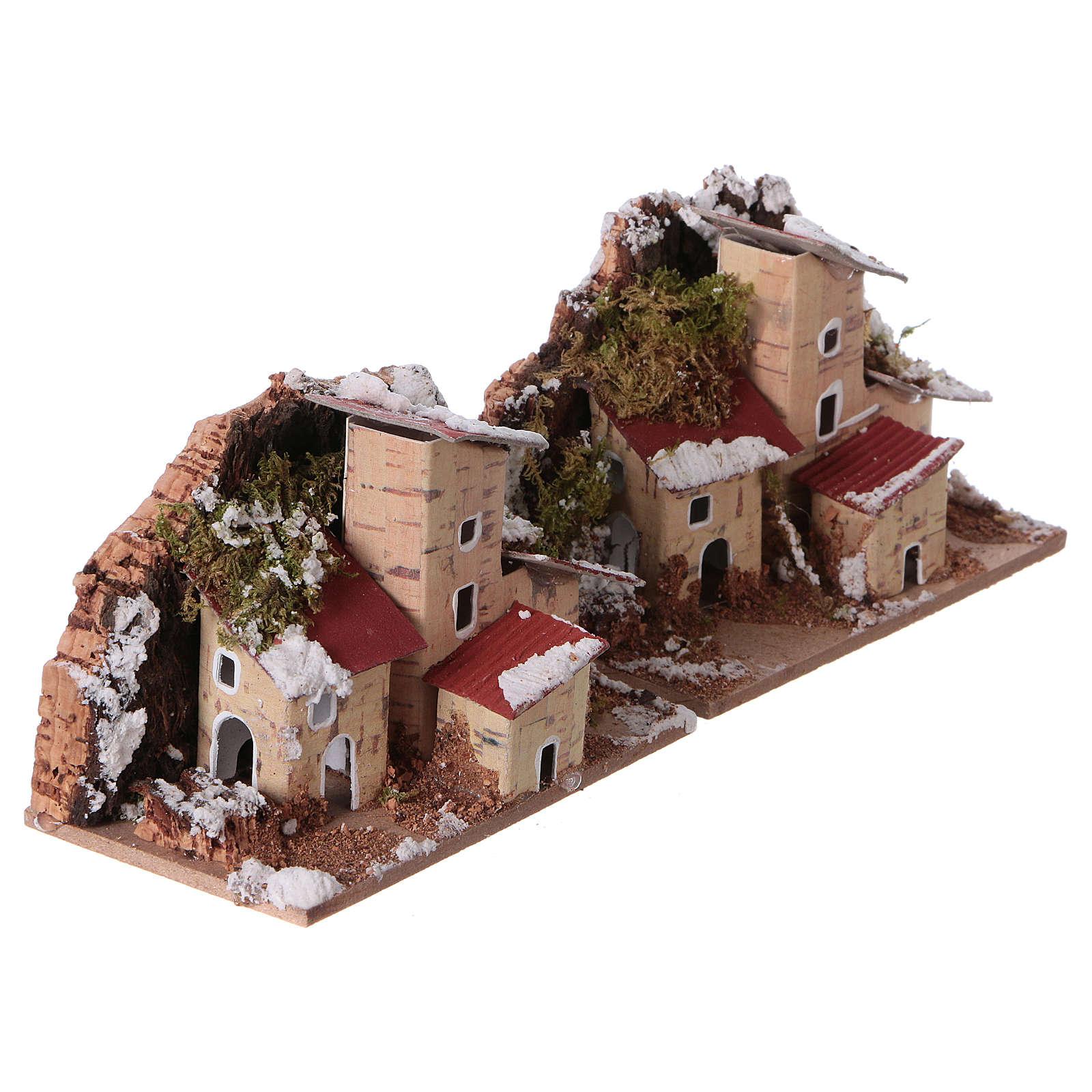 Décor de crèche, maisons enneigées 10x6 cm 2 pièces 4