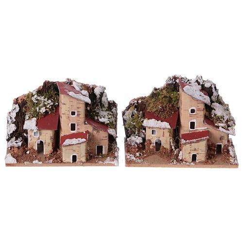 Décor de crèche, maisons enneigées 10x6 cm 2 pièces 1