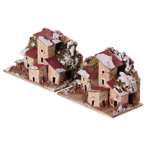 Décor de crèche, maisons enneigées 10x6 cm 2 pièces 2