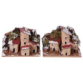 Ambientazioni, botteghe, case, pozzi: Case presepe innevate 10x6 cm. 2 pz.